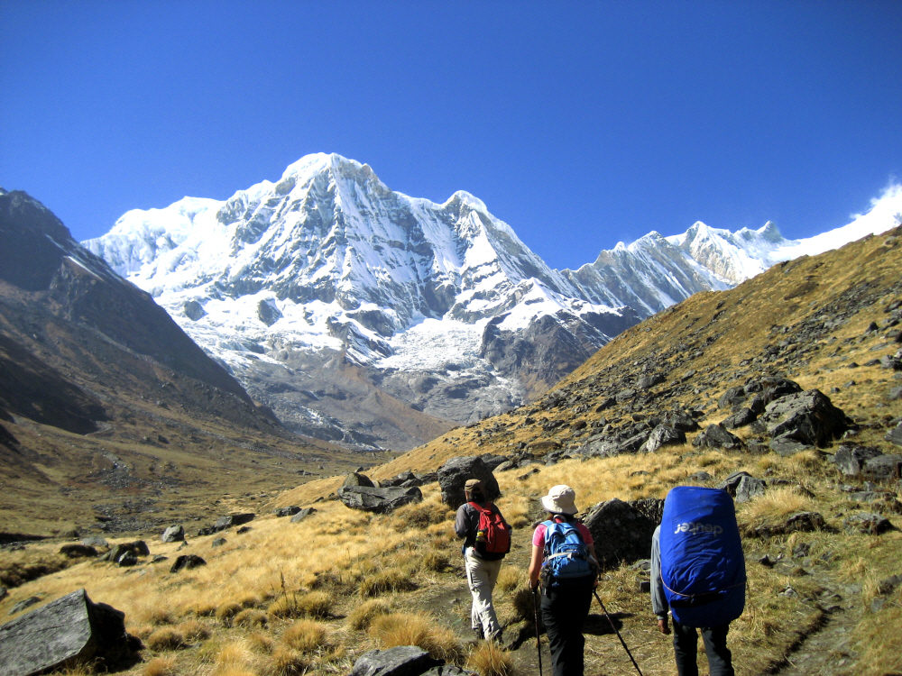 Annapurna is a massif in the Himalayas in north-central Nepal that includes one peak over 8,000 metres (26,000 ft), thirteen peaks over 7,000 metres (23,000 ft), and sixteen more over 6,000 metres (20,000 ft).[5] The massif is 55 kilometres (34 mi) long, and is bounded by the Kali Gandaki Gorge on the west, the Marshyangdi River on the north and east, and by Pokhara Valley on the south.